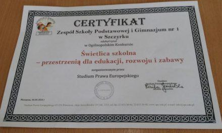 Certyfikat dla świetlicy szkolnej